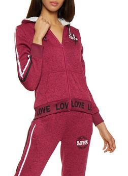 Love Graphic Sherpa Lined Sweatshirt - 3056051069810