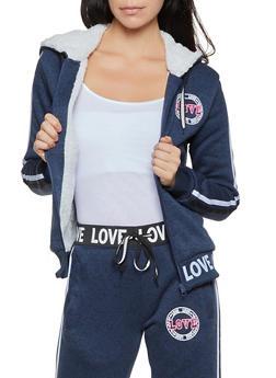Sherpa Lined Varsity Stripe Love Sweatshirt - 3056051069812
