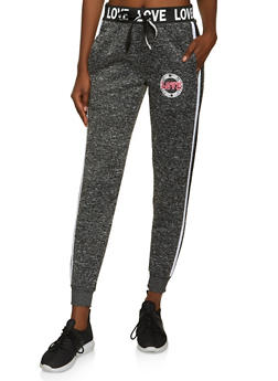 Varsity Stripe Love Graphic Knit Joggers - 3056051069813