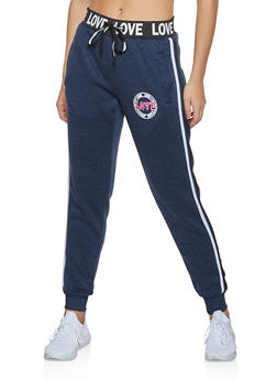 Varsity Stripe Love Graphic Knit Joggers - 3056051069813