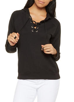 Lace Up Hooded Sweatshirt - 3056054260554