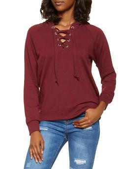 Lace Up Hooded Sweatshirt - 3056054260554