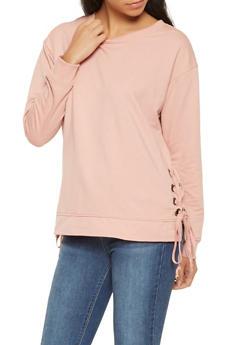 Lace Up Side Sweatshirt - 3056054260596