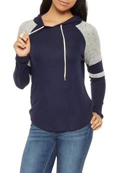 Brushed Knit Hooded Sweatshirt - 3056054260608