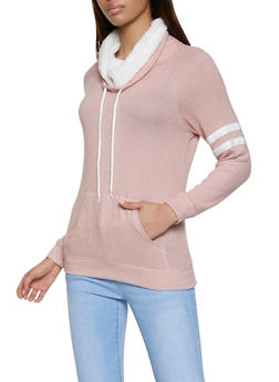 Sherpa Trim Funnel Neck Sweatshirt - 3056054260686