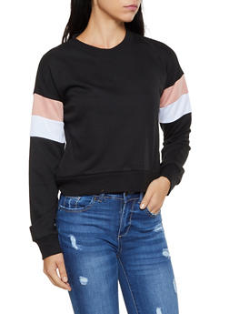 Two Tone Striped Detail Sweatshirt - 3056054261290