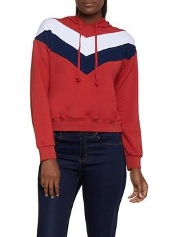Chevron Detail Pullover Sweatshirt - 3056054261338