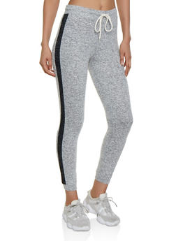 Contrast Trim Brushed Knit Joggers - 3056054265520