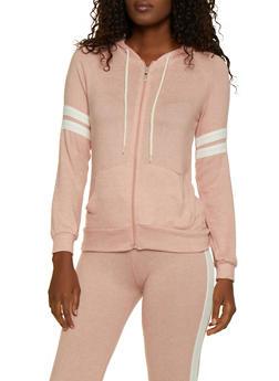 Hooded Varsity Stripe Knit Sweatshirt - 3056054265530