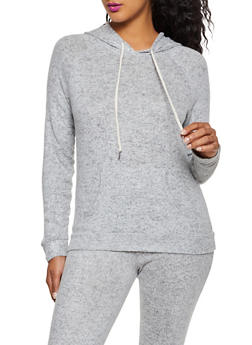 Brushed Knit Hooded Top - 3056054265847
