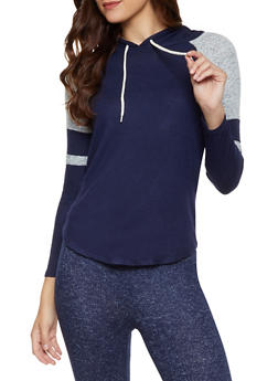 Color Block Brushed Knit Hooded Top - 3056054266080