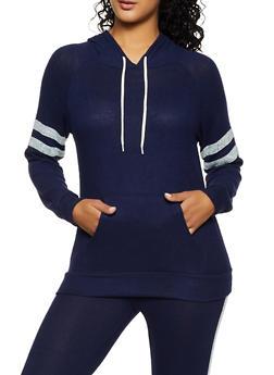 Brushed Knit Varsity Stripe Sweatshirt - 3056054266330