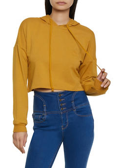 Long Sleeve Hooded Crop Top - 3056054266770