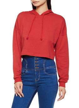 Long Sleeve Hooded Crop Top - 3056054266770
