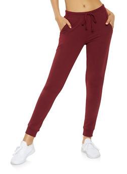 Ribbed Knit Trim Sweatpants - 3056054267760
