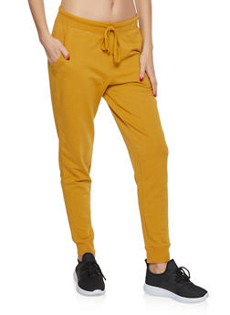 Solid French Terry Lined Joggers - 3056054267761