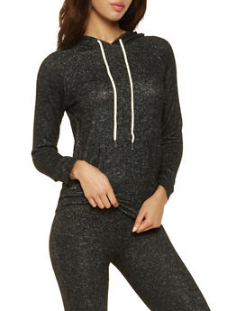 Hooded Brush Knit Sweatshirt - 3056054268470