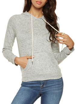 Hooded Brushed Knit Sweatshirt - 3056054268470