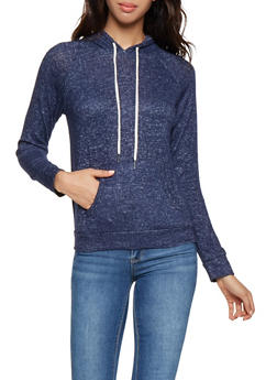 Hooded Brushed Knit Sweatshirt - 3056054268470