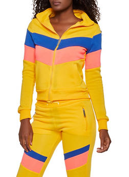 Love Zipper Color Block Sweatshirt - 3056063402510