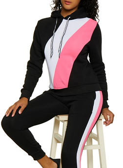 Color Block Fleece Sweatshirt - 3056063402540