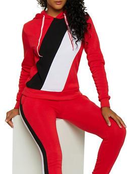 Color Block Fleece Sweatshirt - 3056063402540