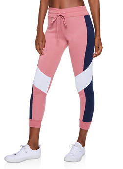 Fleece Lined Color Block Joggers - 3056063402661