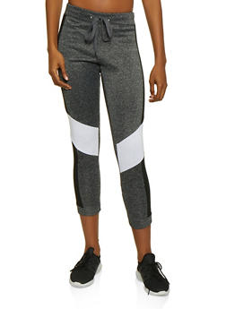 Fleece Lined Color Block Joggers - 3056063402661