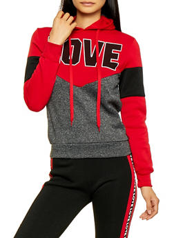 Love Color Block Pullover Sweatshirt - 3056063402680