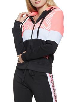 Love Color Block Fleece Zip Sweatshirt - 3056063402720