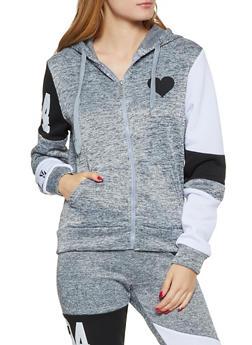Heart Zip Up Sweatshirt - 3056063402750
