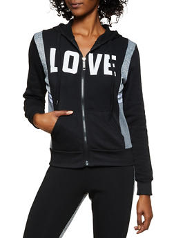Fleece Lined Love Hooded Sweatshirt - 3056063402790