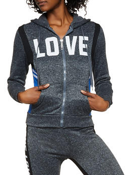 Fleece Lined Love Hooded Sweatshirt - 3056063402790