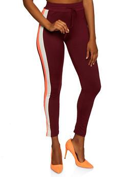 Side Stripe Drawstring Waist Leggings - 3056063402881