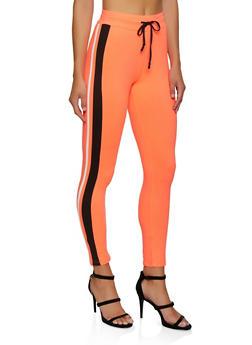 Striped Detail Drawstring Active Pants - 3056063403191