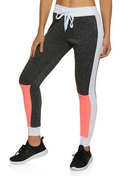 Color Block Fleece Lined Joggers - 3056063403921