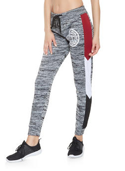 Graphic Color Block Trim Sweatpants - 3056063404695