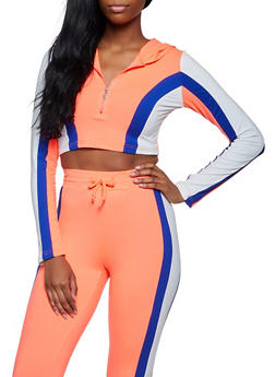Hooded Color Block Zip Neck Top - 3056063407870