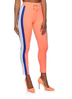 Color Block Drawstring Waist Leggings - 3056063407871