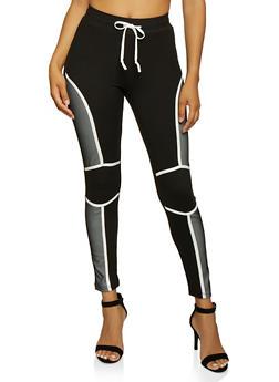 Mesh Detail Drawstring Active Pants - 3056063407881