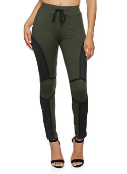 Mesh Detail Drawstring Active Pants - 3056063407881