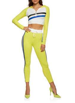 Hooded Color Block Striped Crop Top - 3056063407900