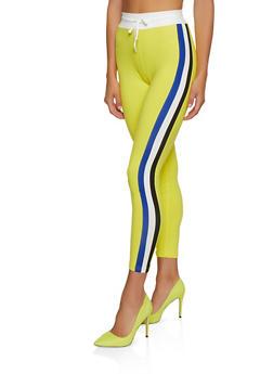 Color Block Striped Drawstring Leggings - 3056063407901