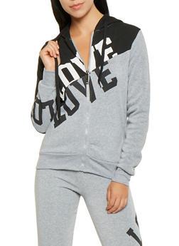 Love Graphic Color Block Sweatshirt - 3056063407930