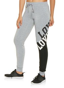 Love Graphic Color Block Sweatpants - 3056063407931