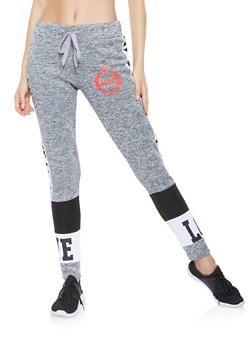 Love Graphic Color Block Sweatpants - 3056063408199