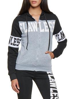 Graphic Color Block Zip Front Sweatshirt - 3056063409150
