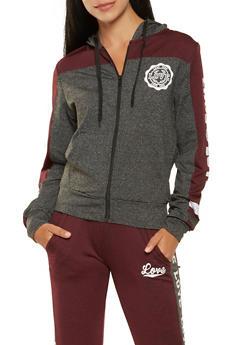 Marled Love Graphic Zip Front Sweatshirt - 3056072290750
