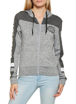 Marled Love Graphic Zip Front Sweatshirt - 3056072290750
