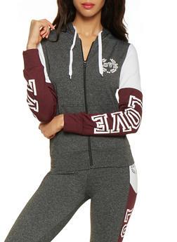 Love Graphic Color Block Zip Up Sweatshirt - 3056072290960